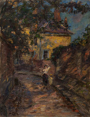 Village In Europe Painting - Young Woman And Child In An Alley  by Henri Duhem