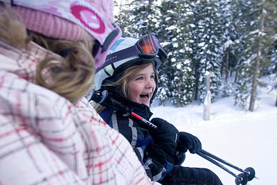 Chairlift Photograph - Young Woman And Child  Riding Chairlift by Justin Bailie