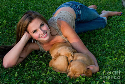Young Woman And Golden Retriever Puppies Art Print by Linda Freshwaters Arndt