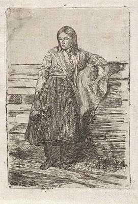 Fence Drawing - Young Woman At A Fence, Frederik Hendrik Weissenbruch by Frederik Hendrik Weissenbruch