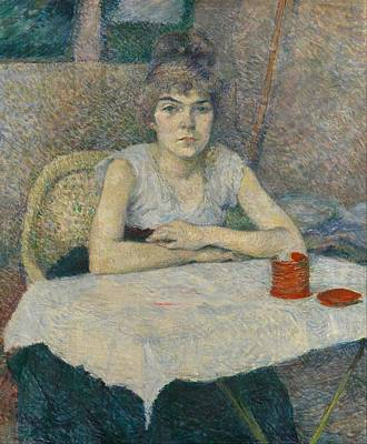 Impressionism Painting - Young Woman At A Table by Toulouse-Lautrec