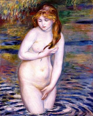 Impressionism Painting - Young Woman Bathing by Pierre-Auguste Renoir