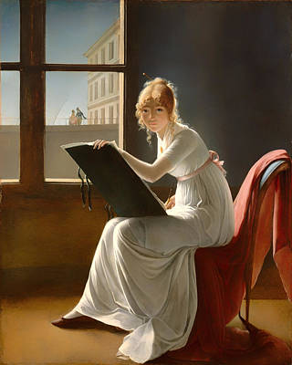 Portaits Painting - Young Woman Drawing - 1801 by Mountain Dreams