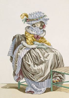 Chair Drawing - Young Woman Dressed In Anglais Style by Francois Louis Joseph Watteau