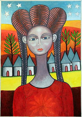 Contemporary Ethnic Artist Painting - Young Woman From The Village by Ephrem Kouakou