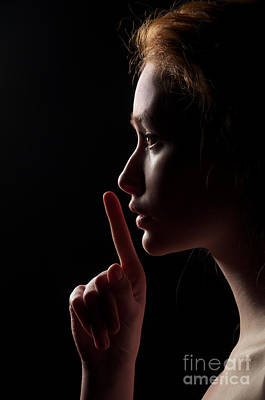 Profile Shadow Photograph - Young Woman Gesturing For Being Quiet by Aleksey Tugolukov