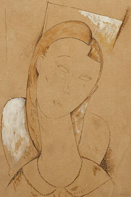 Pen Painting - Young Woman  Giovane Donna by Amedeo Modigliani