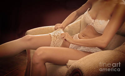 Sofa Photograph - Young Woman Glamour by Michal Bednarek