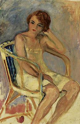 Young Woman In A Chair Art Print by Henri Lebasqe