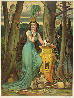 Young Woman In A Green Dress Art Print by British Library