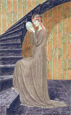 Staircase Drawing - Young Woman In Aesthetic Style Dress by Carlos Schwabe