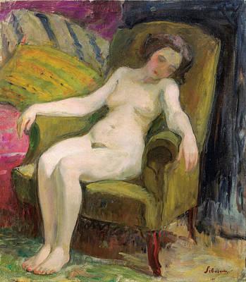 Young Woman In An Armchair Art Print by Henri Lebasqe