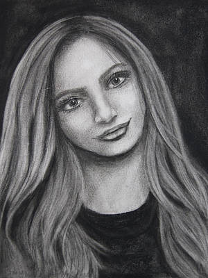 Drawing - Young Woman In Charcoal by Barbara J Blaisdell