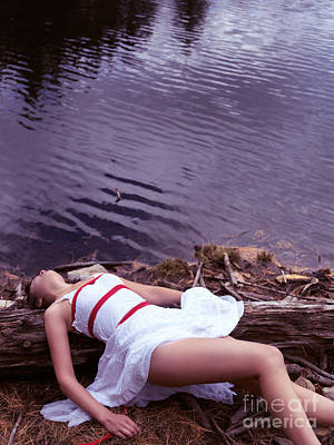 Young Woman In Dress And Bondage Rope Lying Near Water Art Print by Oleksiy Maksymenko