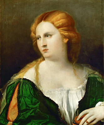 Palma Vecchio Painting - Young Woman In Green Dress by Palma Vecchio