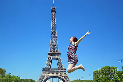 Girl Photograph - Young Woman Jumping Against Eiffel Tower by Michal Bednarek
