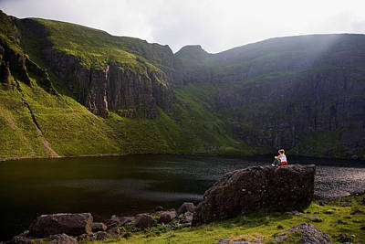 Young Woman Meditating, Coumshingaun Art Print by Panoramic Images