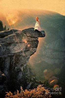 Ledge Photograph - Young Woman On Rocky Ledge by Jill Battaglia