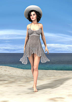 Digital Art - Young Woman On The Beach by Design Windmill