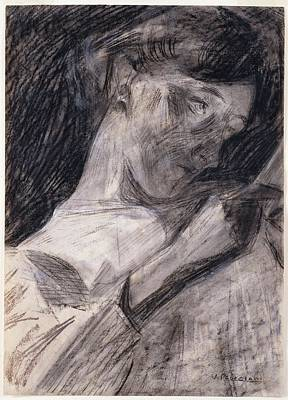Umberto Drawing - Young Woman Reading Ines by Umberto Boccioni
