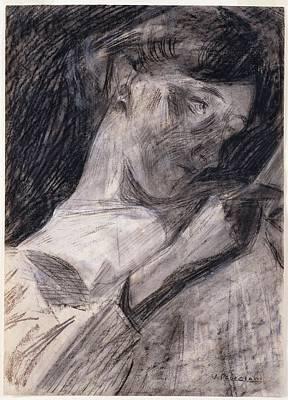 Umberto Boccioni Drawing - Young Woman Reading Ines by Umberto Boccioni