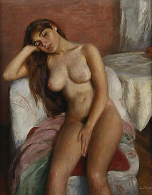 Young Woman Relaxing Art Print by Ramon Pichot Girones