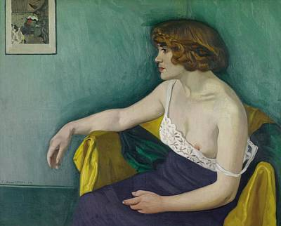 Young Woman Seated In Profile Art Print by Felix Edouard Vallotton