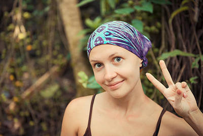 Glad Rags Photograph - Young Woman Showing Victory Sign by Nikita Buida