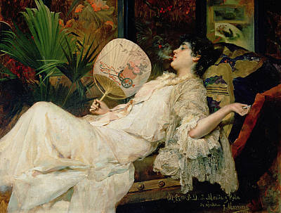 Young Woman Smoking, 1894 Oil On Canvas Art Print