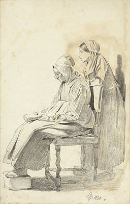 Loon Drawing - Young Woman Standing Behind A Seated Reading Old Woman Seen by Quint Lox