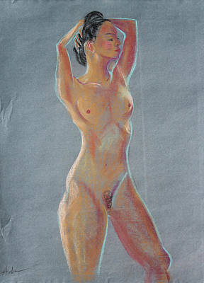 Painting - Young Woman Standing With Her Hands Behind Her Head by Asha Carolyn Young