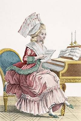 Piano Drawing - Young Woman Studying Music by Pierre Thomas Le Clerc