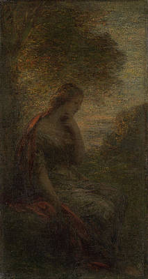 Autumn Art Drawing - Young Woman Under A Tree At Sunset, Called Autumn by Litz Collection