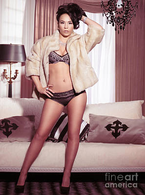Woman Lingerie Photograph - Young Woman Wearing Lingerie And Fur Coat by Oleksiy Maksymenko