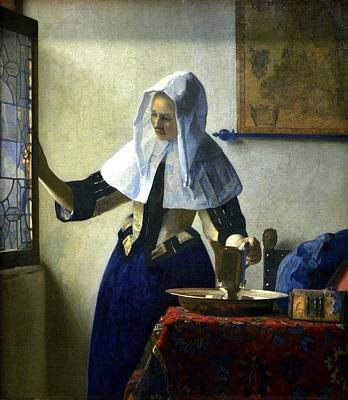 Young Woman With A Water Pitcher Art Print by Johannes Vermeer