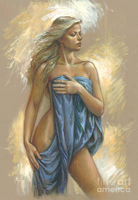 Nude Portraits Digital Art - Young Woman With Blue Drape by Zorina Baldescu