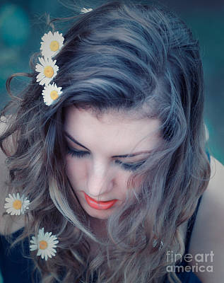 Young Woman With Flowers In Her Hair Art Print