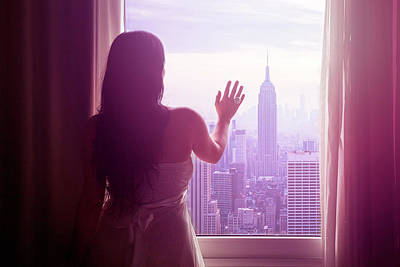 Young Woman With Hand On Window And New Art Print by Flavia Morlachetti