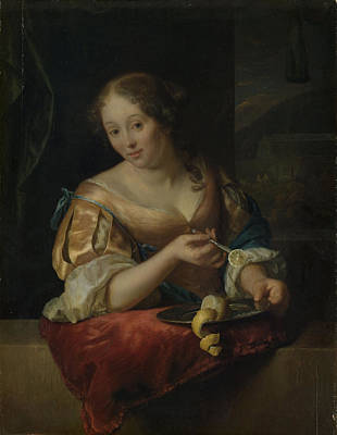 Young Woman With Lemon, Godfried Schalcken Art Print by Litz Collection
