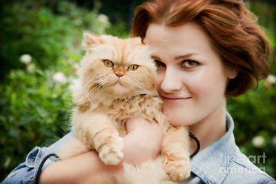 Fun Photograph - Young Woman With Persian Cat Playing by Michal Bednarek