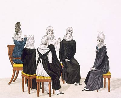 Chatting Drawing - Young Women Chatting, C. 1820 by French School