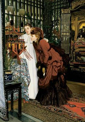 Young Women Looking At Japanese Articles, 1869 Oil On Canvas Art Print by James Jacques Joseph Tissot