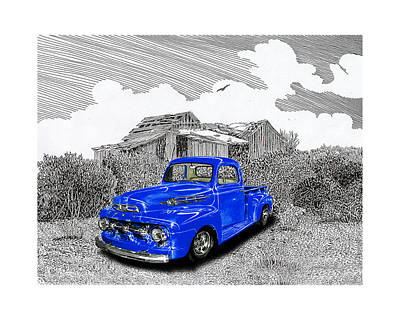 Your 1952 F 100 Pick Up In N M  Art Print by Jack Pumphrey