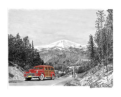 1946 Ford Special Deluxe Woody On Apache Summit Art Print by Jack Pumphrey