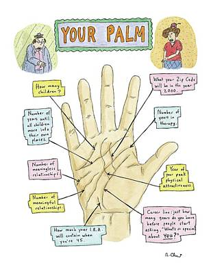 Fashion Show Drawing - Your Palm by Roz Chast