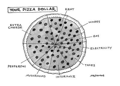 Money Drawing - Your Pizza Dollar by Mick Stevens