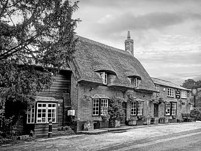 Your Shout - Axe And Compasses Pub Bw Art Print by Gill Billington