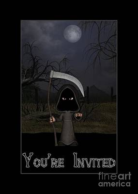Digital Art - You're Invited Reaper by JH Designs