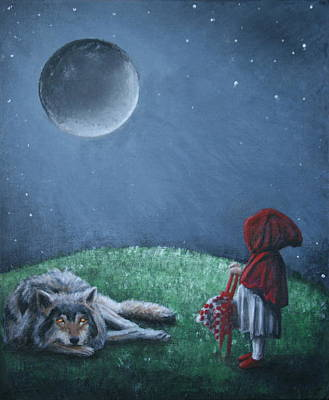 Painting - Youre Just A Big Bad Wolf. by Rachael Curry