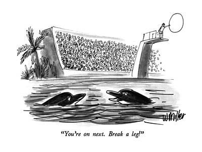 Dolphin Drawing - You're On Next.  Break A Leg! by Warren Miller